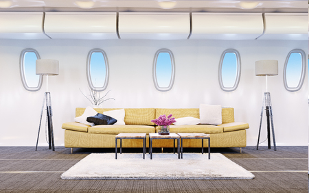 airplane cabin as a living room. Vip fly concept. 3d rendering