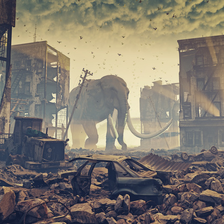 giant elephant in destroyed city. creative concept. 3d concept. Noise added
