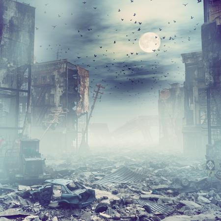 夜の都市の廃墟。3Dイラストレーションコンセプト
