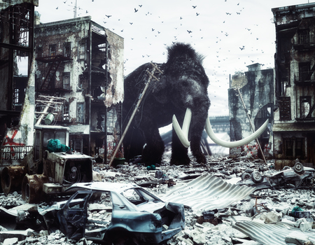 giant mammoth in destroyed city. creative concept. 3d concept. Noise added Stock Photo