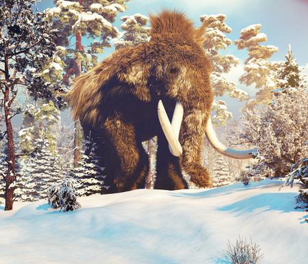 겨울 숲에서 큰 맘모스입니다. 3D 일러스트 레이션 스톡 콘텐츠
