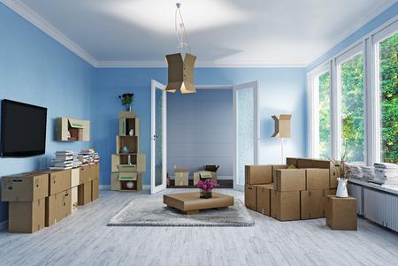 De kamer met kartonnen dozen in plaats van meubels. 3d concept Stockfoto - 81635408