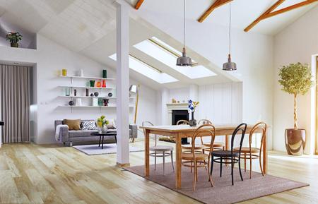 Attic floor design.3d illustration concept