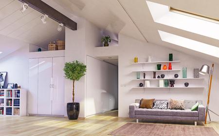 Zolder vloer design.3d illustratie concept