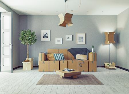 Der Raum mit Kartonboxen anstelle von Möbeln. 3d konzept Standard-Bild - 81594324
