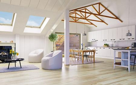 Attic floor apartment design. 3d illustration concept