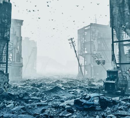 ruïnes van een stad in een mist. 3D illustratie concept