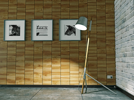 Floor lamp in the interior with the wood decorated wall. 3d illustration