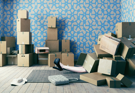 A lot of cardboard boxes fell on a young woman. Photo combination concept Foto de archivo