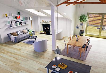 attic: Attic floor design.3d illustration concept