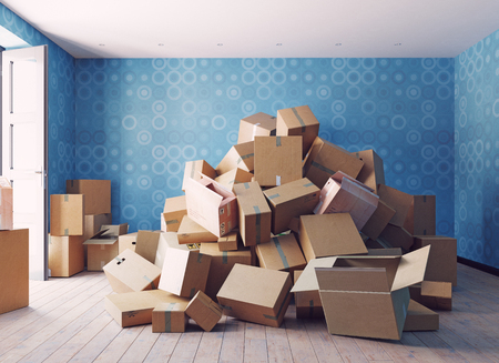 the heap of the cardboard boxes in the room. 3d concept 스톡 콘텐츠