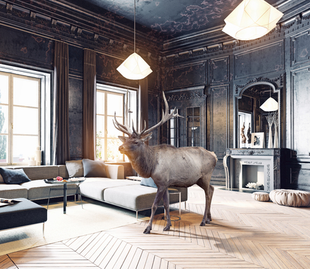 럭셔리 디자인 룸에서 야생 사슴입니다. 3d 요소 및 사진 조합 그림 스톡 콘텐츠