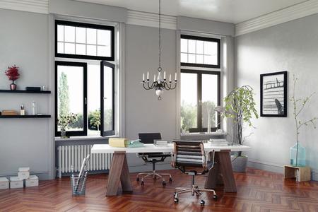 moderne studeerkamer met tafel en fauteuils. 3D-concept rendering Stockfoto