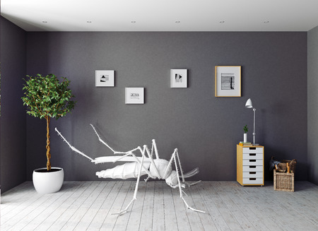the white  mosquito on the floor in the  living room . 3d concept photo