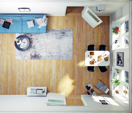 Top view of the modern room. 3d concept rendeing 스톡 콘텐츠