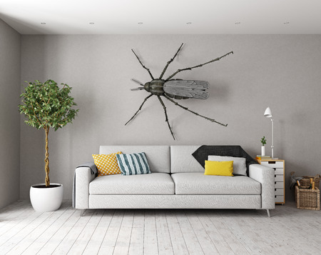 the  mosquito on the wall in the  living room as a decor. 3d concept
