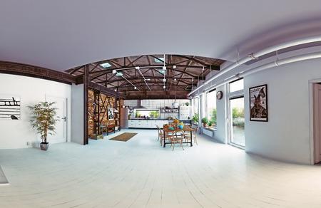 modern loft kitchen interior. fisheye lens panorama. 3d rendering concept photo