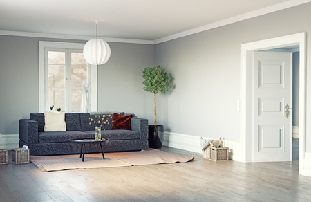 Modern living room interior. 3d rendering design Zdjęcie Seryjne
