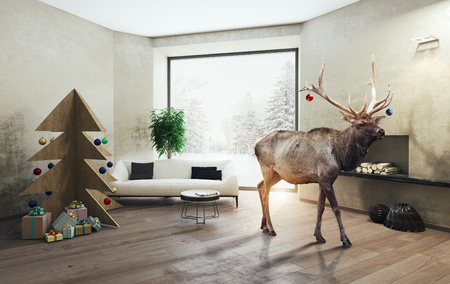 interior with plywood Christmas tree and the deer. 3d concept