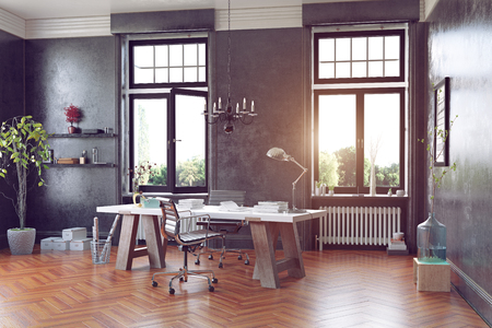 Moderne studiezaal met tafel en fauteuils. 3D-concept rendering