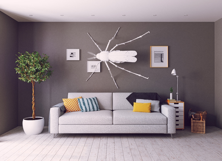 the white  mosquito on the wall in the  living room as a decor. 3d concept photo