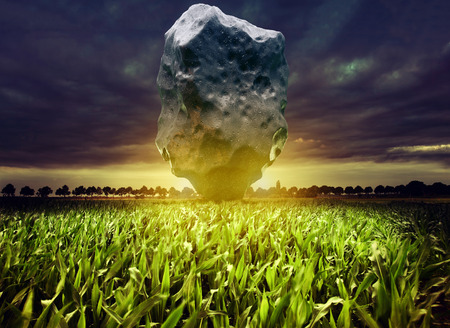 Giant meteorite over the night corn field. 3d rendering and photo elements illustration.