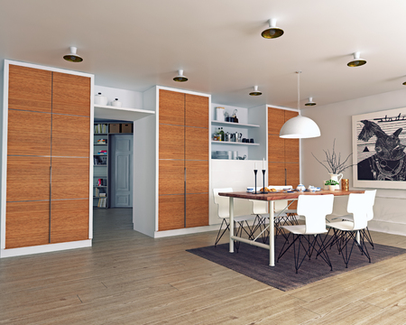 modern dining room interior. 3d rendering concept photo
