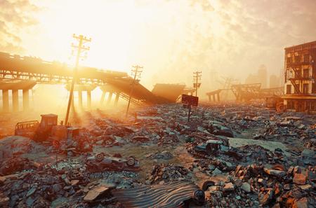 Ruins of a city. Apocalyptic landscape.3d illustration concept Archivio Fotografico