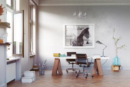 테이블과 안락 의자가있는 현대 연구실. 3d 개념 렌더링