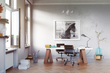 modern study room with  table and  armchairs. 3d concept rendering