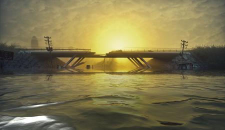 洪水の都市の遺跡。終末論的景観。3d イラストレーションコンセプト 写真素材