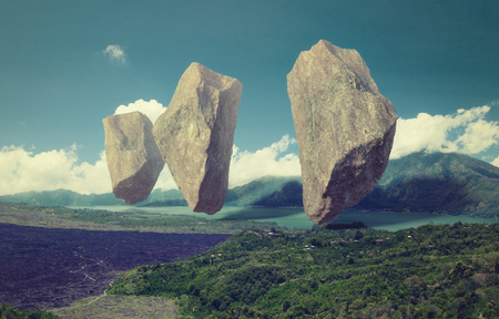 floating rocks in the sky over the lake. 3d combination illustration concept