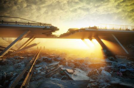 都市の廃墟。終末論的景観。3d イラストレーションコンセプト