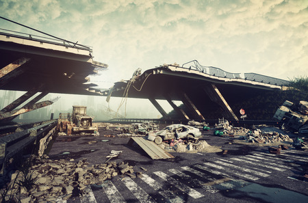 Ruins of a city highway. Apocalyptic landscape.3d illustration concept Фото со стока - 85015620
