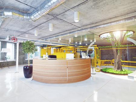 현대 다락방 사무실 리셉션. 3d 렌더링 개념