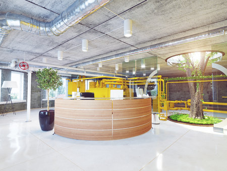 moderne loft kantoor receptie. 3D-rendering concept