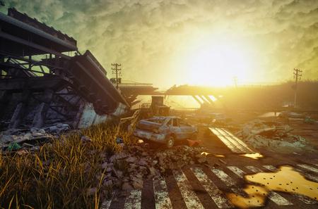 Ruïnes van een stadsweg. Apocalyptisch landscape.3d illustratieconcept Stockfoto