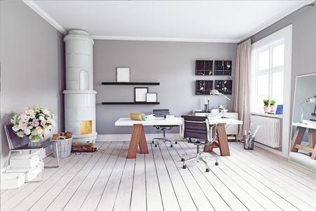 클래식 스웨덴어 스토브, 테이블 및 안락의 자와 함께 현대 연구 방. 3d 개념 렌더링 스톡 콘텐츠