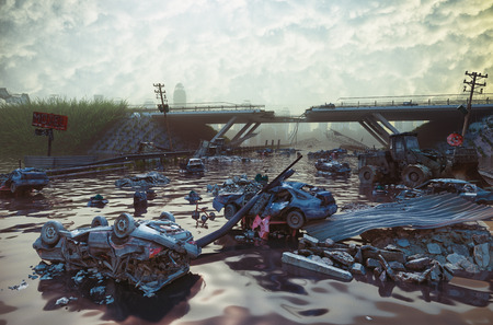 Ruins of the flooding city. Apocalyptic landscape.3d illustration concept Stock Photo