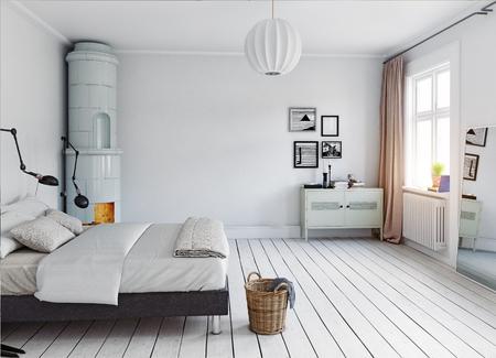 고전적인 스웨덴어 난로와 현대 침실입니다. 3d 개념 렌더링 스톡 콘텐츠