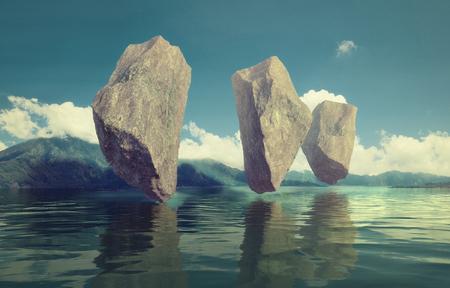 호수 위로 하늘에 떠있는 바위. 3d 조합 그림 개념
