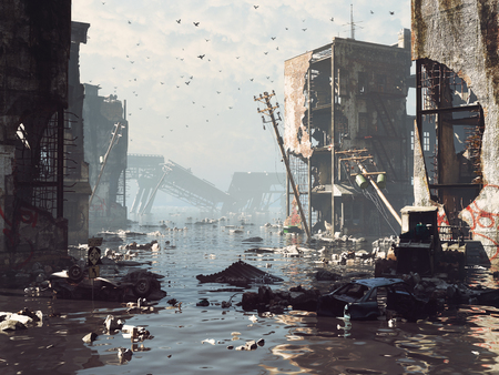 Ruins of the flooding city. Apocalyptic landscape.3d illustration concept 版權商用圖片