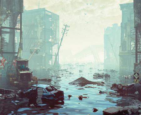 범람하는 도시의 유적. Apocalyptic landscape.3d 일러스트 레이션 개념
