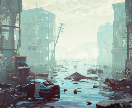 Ruins of the flooding city. Apocalyptic landscape.3d illustration concept Фото со стока