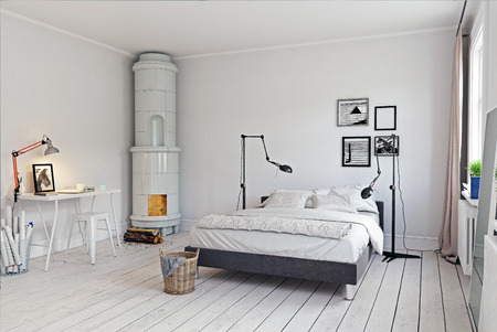 modern bedroom with  classic  swedish stove. 3d concept rendering Stock Photo