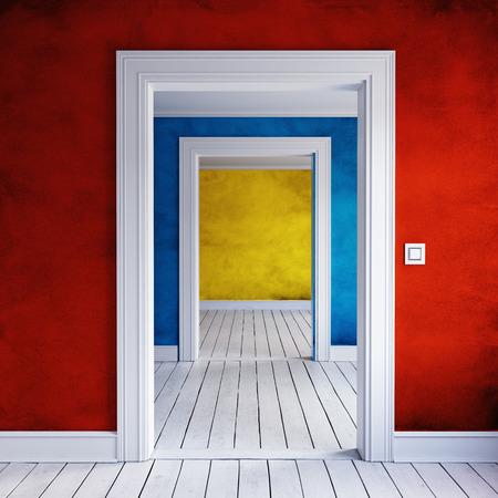 Interior de entrada de casa color abierto. Render 3d Foto de archivo - 85770040