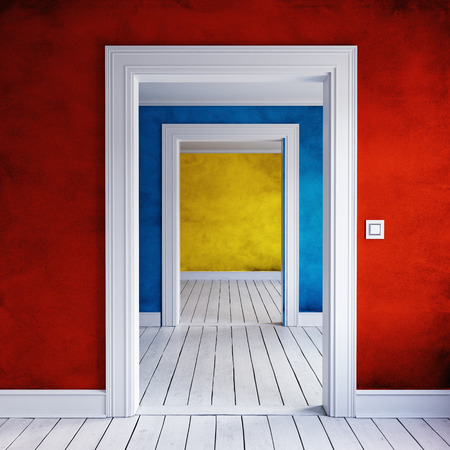 Opened colored home doorway interior. 3d render