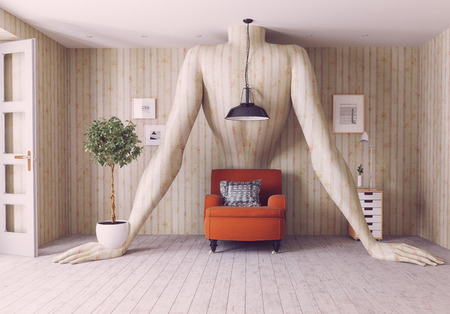 Human body wall decor. 3d rendering  interior concept Imagens