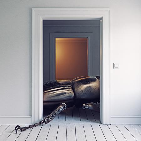 방에있는 거대한 곤충. 3d 렌더링 개념