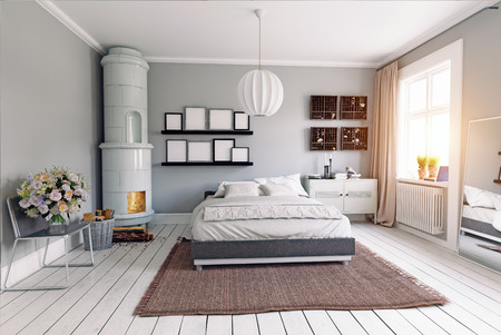 moderne slaapkamer met klassieke zweedse kachel. 3D-concept rendering Stockfoto
